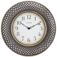 "La Crosse BBB86507 Antiqued Brown Analog Lattice Wall Clock, 16"" Diameter"