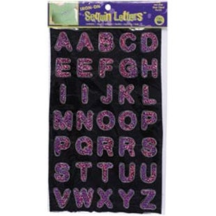 """Hot Pink - Iron-On Sequin Letters 1"""" Block"""