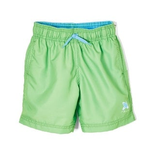 Azul Little Boys Green Solid Color Logo Detail Drawstring Basic Shorts