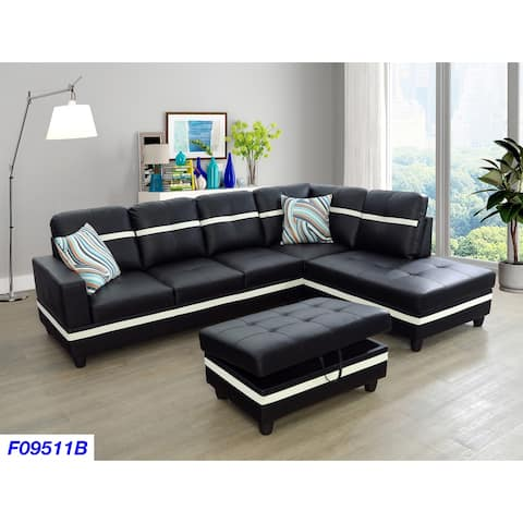 3-Pieces Sectional Sofa Set,Right Facing Black(09511B)
