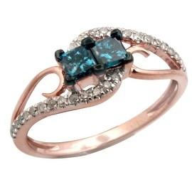 0.56ct Blue Color Princess Diamond With Real Diamond Designer Engagement Ring