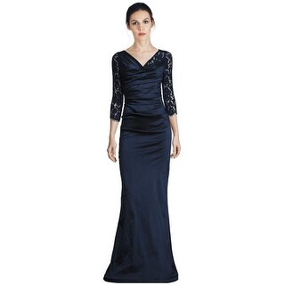 Teri Jon Ruched Lace 3/4 Sleeve Evening Gown Dress Navy