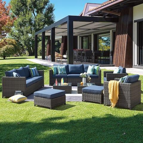 Ovios Patio Furniture Deep Seat Wicker 12-piece Set with Cushions