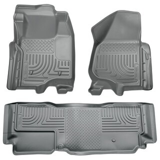 Husky Weatherbeater 2011-2012 Ford F-250/F350 SD SuperCab NO FootRest/Sft Grey Front & Rear Floor Mats/Liners