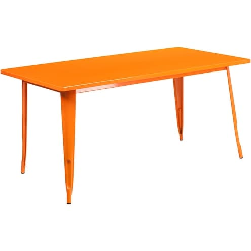Brimmes Rectangular 31.5'' x 63'' Orange Metal Table for Patio/Bar