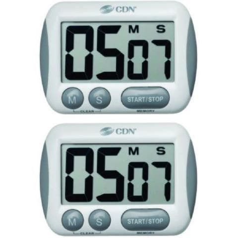 2 Pack CDN TM15 Kitchen Cooking Timer with an Extra Large Display Alarm Function - White