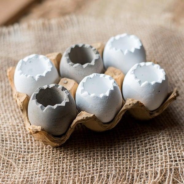 RusticReach Decorative Eggshell Style Cement Planter