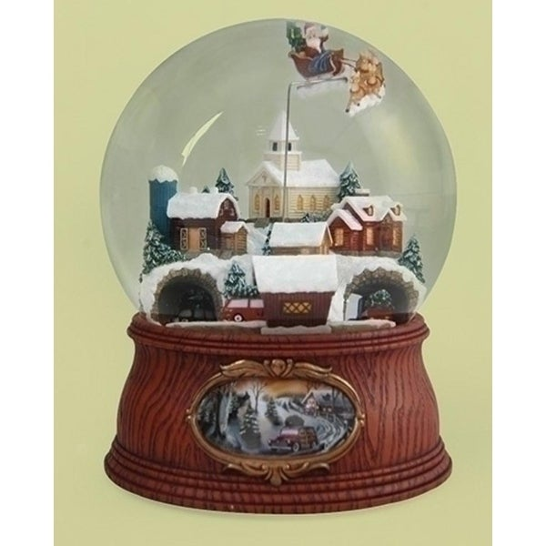 """7.75"""" Musical Santa Flying Over Town with Rotating Cars Decorative Christmas Glitterdome - brown"""