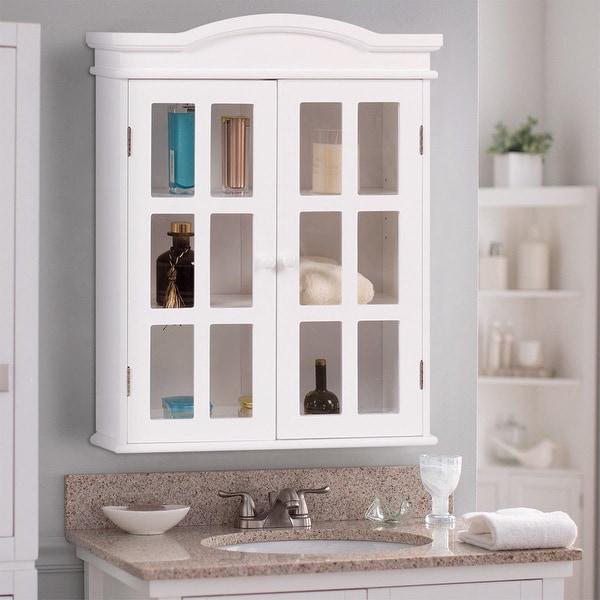 Costway Wall Mount Bathroom Storage Cabinet Medicine Organizer Double Doors Shelved White