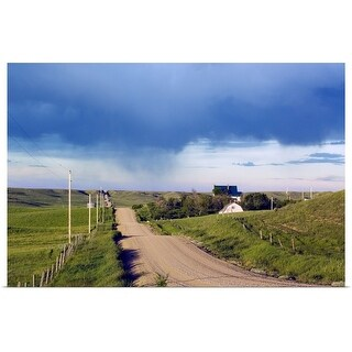 """Dirt road through hilly farmland, distant storm, Missouri Breaks, Montana"" Poster Print"