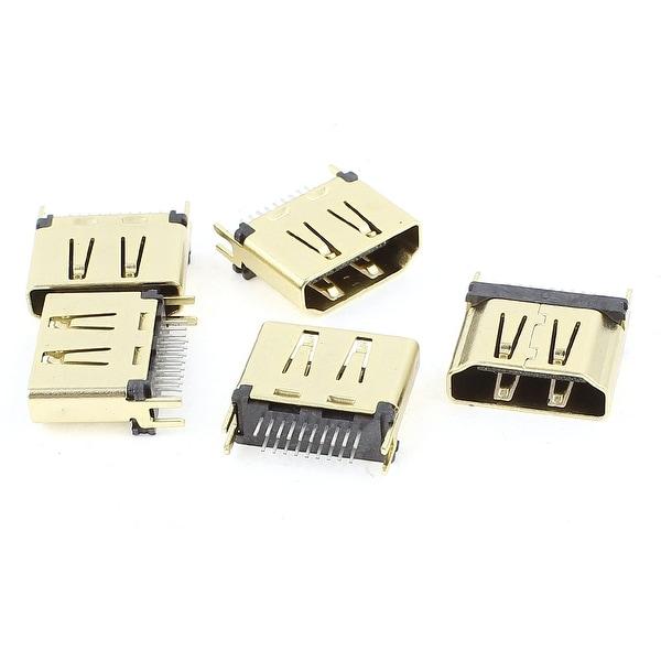 Unique Bargains 5Pcs Gold Tone 1.6mm Pitch HDMI Female 19 Pins DIP Type Connectors