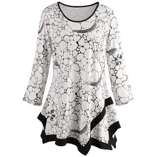 Women's Tile Print Tunic Top - Black and White Print Fashion Blouse (More options available)
