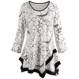 Buy 34 sleeve shirts online at overstock our best tops deals womens tile print tunic top black and white print fashion blouse mightylinksfo