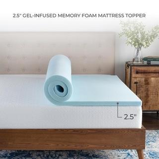 Brookside Gel Infused Memory Foam Mattress Topper - Blue (California King - 2.5 Inch)