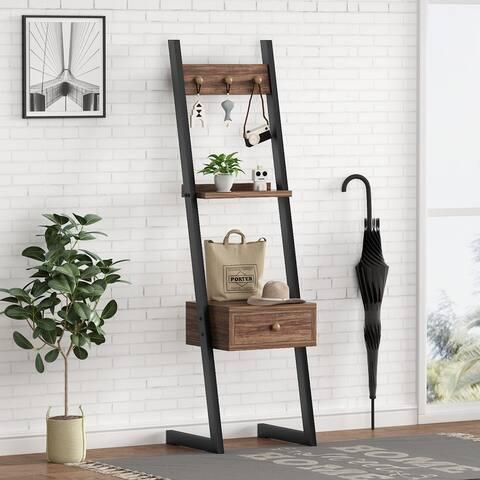Bench Hall Tree Entryway Shelf, Corner Ladder Display