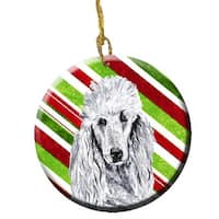 White Standard Poodle Candy Cane Christmas Ceramic Ornament