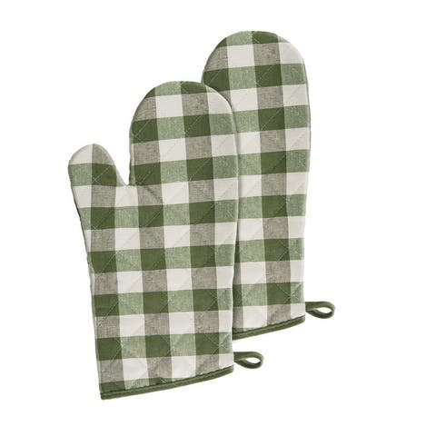 Buffalo Check Oven Mitts - 7-in x 13-in - Set of Two - 7x13