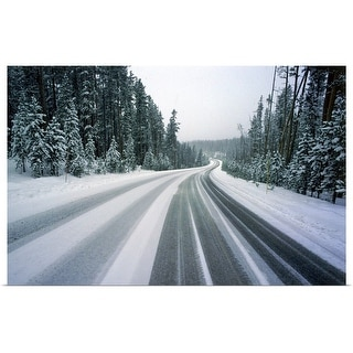 """""""Snowy road"""" Poster Print"""
