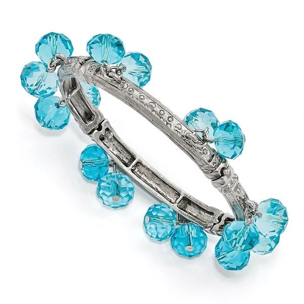 Silvertone Blue Glass Beaded Stretch Bracelet - 7in
