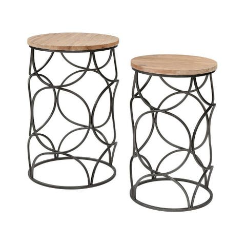 Alston Limes - 24 Inch Accent Table (Set of 2) Natural Wood/Aged Pewter/Aged Pewter Finish