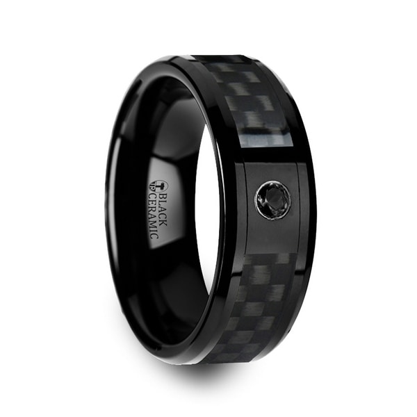 ABERDEEN Black Ceramic Ring with Black Diamond Wedding Band and Black Carbon Fiber Inlay 8mm