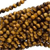 Tiger Tigers Eye Gem 4-4.5mm Round Beads/15.5 In. (Brown & Gold)
