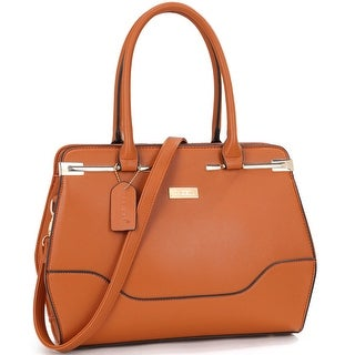 Dasein Fashion Faux Leather Gold-Tone Satchel