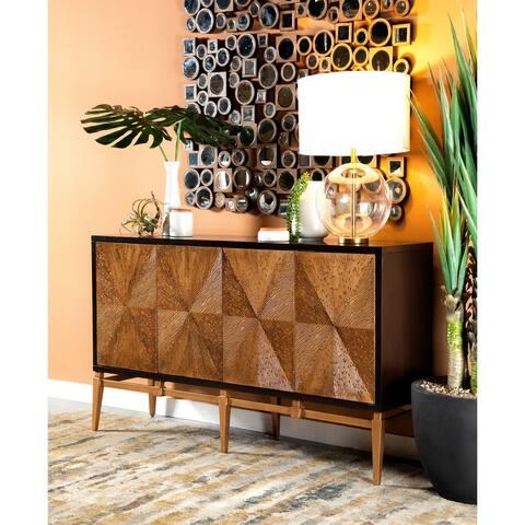 Brown and Antique Gold Sunburst 4-door Accent Cabinet