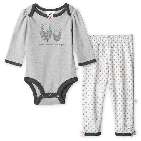 Just Born Baby Girls' 2-Piece Organic Lil' Lamb Long Sleeve Bodysuit and Pant Set