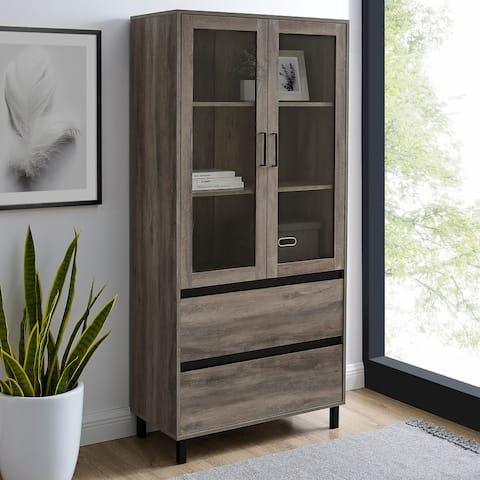Strick & Bolton 68-inch Glass Door Storage Cabinet
