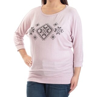 HIPPIE ROSE $34 Womens New 1781 Purple Jewel Neck 3/4 Sleeve Top XL Juniors B+B