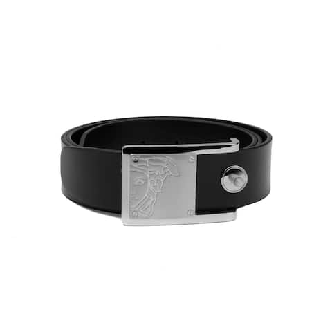Versace Collection Men's Medusa Steel Buckle Leather Belt Black