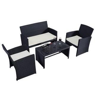 costway 4 pc rattan patio furniture set garden lawn sofa wicker cushioned seat black - Overstock Patio Furniture