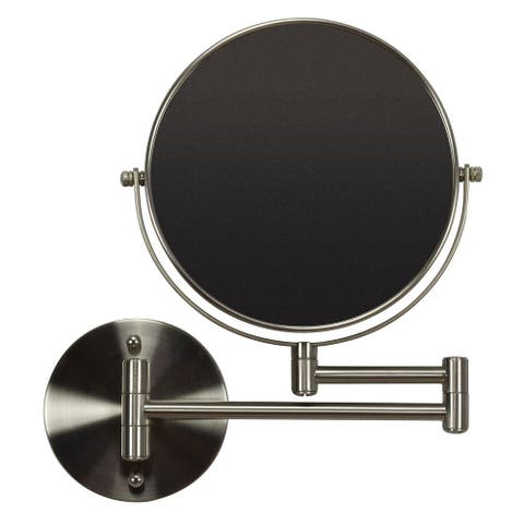 19.56-in. W Round Brass-Mirror Wall Mount Magnifying Mirror In Brushed Nickel Color - Brushed Nickel