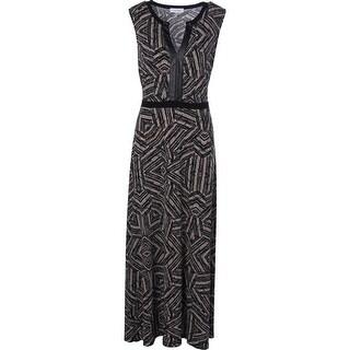 Calvin Klein Womens Faux Leather Trim Matte Jersey Maxi Dress