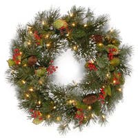"24"" Pre-Lit Wintry Pine Artificial Christmas Wreath with Cones, Berries and Snow - Clear Lights - green"