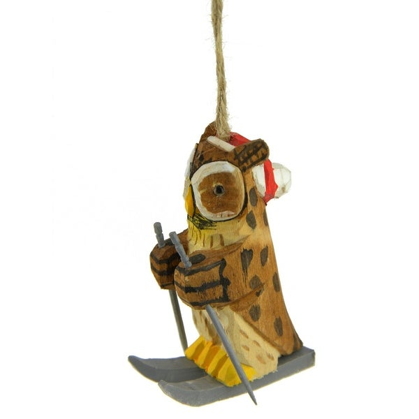 "3.5"" Decorative Brown, Yellow and Gray Wooden Owl Skiing Christmas Ornament"