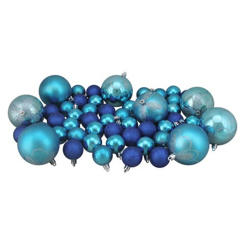 "125ct Peacock Blue Shatterproof 4-Finish Christmas Ornaments 5.5"" (140mm)"