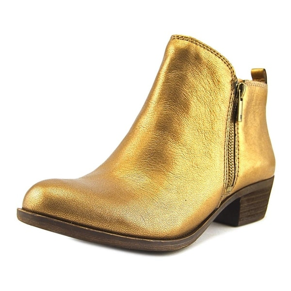 Lucky Brand Basel Women Round Toe Leather Bronze Ankle Boot