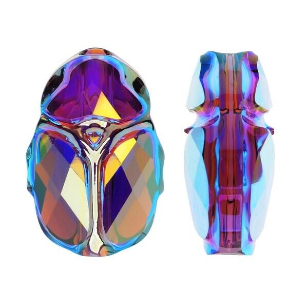 Swarovski Crystal, 5728 Scarab Bead 12mm, 1 Piece, Amethyst AB 2X