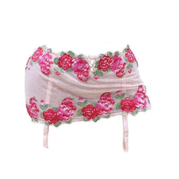 Victoria's Secret Very Sexy Bling Floral Embroidered Skirterd Garter Thong - New - Multicolor - M