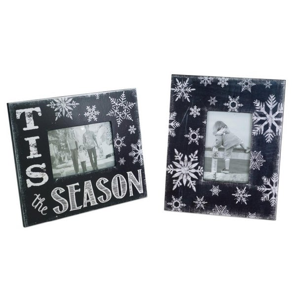 "Pack of 6 Black and White Snowflake Decorative Picture Frames 11.25"" - Red"
