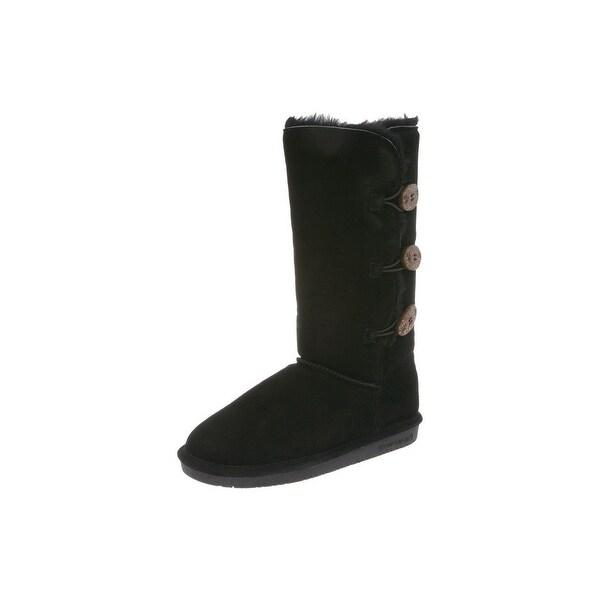 Bearpaw Boots Womens Lauren Toggle Cow Suede Sheepskin