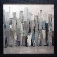North American Art  29 x 29 in. Blue Plaza Framed Cityscape Art Print