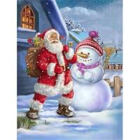 Carolines Treasures  Christmas Santa Claus & Snowman Flag Garden Size