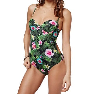 Topshop NEW Green Pink Women's Size 4 Maui Floral One-Piece Swimwear