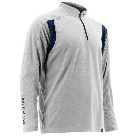 Huk Men's Trophy 1/4 Zip White Small Long Sleeve Shirt