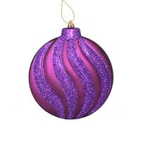 6ct Matte Purple Glitter Swirl Shatterproof Christmas Disc Ornaments 6.25""
