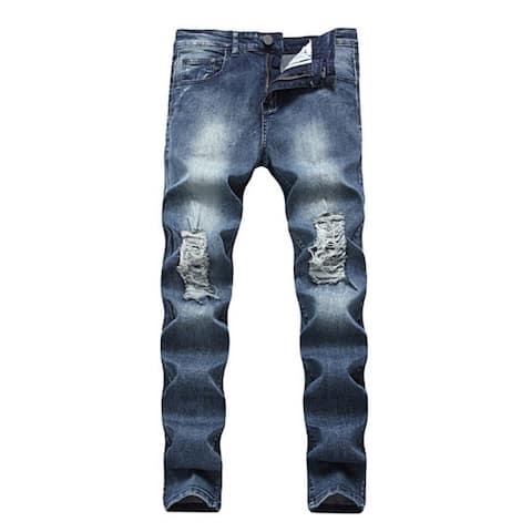 Men Jeans Slim Fit Black Stretch Destroyed Ripped Skinny Denim Jeans