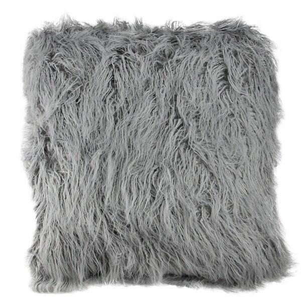 """18"""" Extravagant Cloud Gray Faux Fur Super Soft Decorative Throw Pillow"""